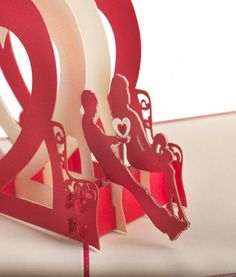 Pop. Delight. Surprise. Love. LovePop's Heart Bench Paper Pop Up Card. #valentinesday #love