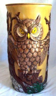 Vtg LG Ceramic Owl wood lid large Floor Vase Plant Umbrella Stand stand Storage