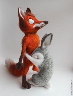 Лис и зайц. БЕЗ ПОВТОРА - рыжий,лиса,заяц,животные,подарок,сувенир,прикольные подарки