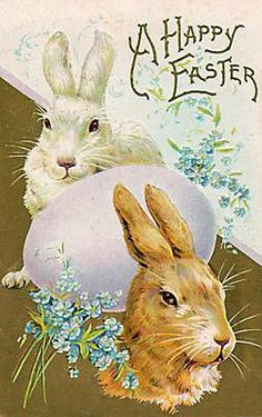 Vintage Easter Postcard--Two Great Bunnies