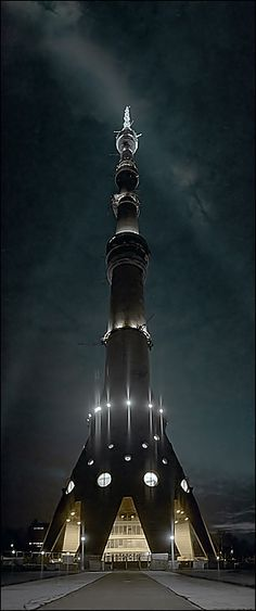 The Ostankino Tower is a television and radio tower in Moscow, Russia, designed by Nikolai Nikitin. It is the tallest freestanding structure in Europe and the sixth tallest in the world. It is considered a masterpiece of Soviet engineering.