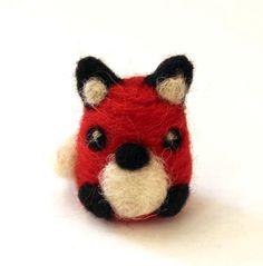 Needle Felted Tiny Woodland Red Fox Totem Animal Art Doll Felt Animals 2 Inch by Karen Watkins kmwatkins on Etsy