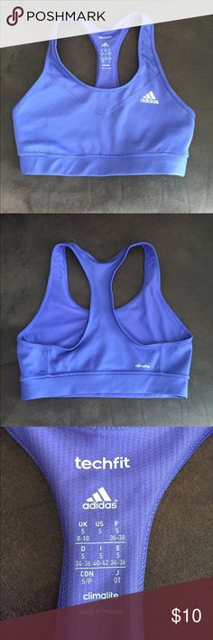 Adidas climalite sports bra 🔮 Purple Adidas climalite sports bra size small! The color is best shown in the last two photos. Not new but in great condition! As you can see, the adidas logo on the front hasn't started cracking at all like it does when it is well-worn Adidas Intimates & Sleepwear Bras