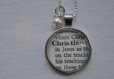 Vintage Dictionary Word Necklace Pendant CHRISTIAN by www.kraftykash.net $21.00 #jewelry #handmade