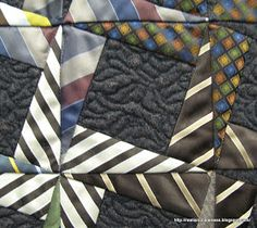 close up, The Ties That Bind by Jill Radliffe 2013 Adelaide quilt festival. Photo by Pip at Rest Is Not Idleness This is an example of a block with neutral center and asymmetrical layout. Necktie Quilt, Shirt Quilt, Necktie Pattern, Tie Crafts, Crochet Quilt, Quilting Projects, Quilting Ideas, Quilting Designs, Art Projects