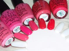 OPI Elephantastic Pink, OPI Strawberry Margarita, OPI Party in My Cabana, OPI Paint My Moji-Toes Red, OPI My Chihuahua Bites