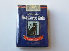 Schwarze Katz alte Zigaretten Schachtel Packung
