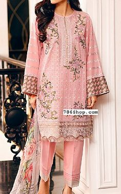 Pink Lawn Suit | Buy Baroque Eid Collection Pakistani Dresses and Clothing online in USA, UK