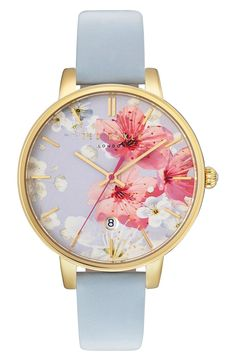 Ted Baker London is calling all nostalgic romantics with the painterly floral backdrop on this round watch. Love this from Nordstrom for Mother's Day! Cute Watches, Stylish Watches, Luxury Watches, Ted Baker Uhren, Ted Baker Watches, Nixon Watches, Jewelry Accessories, Fashion Accessories, Fashion Watches