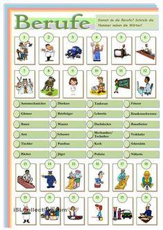 Berufe Bildwörterbuch. Zuordnung - DAF Arbeitsblätter