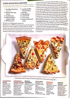Eating Well classic quiche with 6 variations