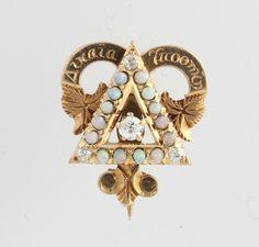 Delta Upsilon Fraternity Badge c.1905 - 14k Yellow Gold Opals & Diamond Antique