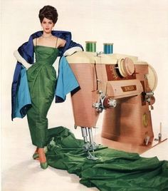 1960's fashion. My sewing machine (the one I still use) is exactly like that one. It's a '60 or '61 model.