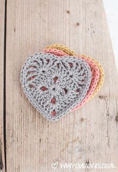 4.5/5mm hook. Crochet Granny Heart Pattern: Ch4, join with a sl st to make a ring. Rnd 1: (WS) 3ch, (counts as tr), 2tr into ring, *3ch, 3tr into ring; rep from * 2 times, 3ch, join with a sl st to top of ch-3, turn. (12tr) You should now have a tiny granny square with four groups of 3tr clusters and four, 3ch corners. Rnd 2: 3ch (counts as tr), (2tr, 3ch, 2tr) in ch-3 sp (corner made) *1tr in each of next 3 tr, (2tr, 3ch, 2tr) into next ch-3 sp; rep from 2 more times, 1tr in each of last 2…