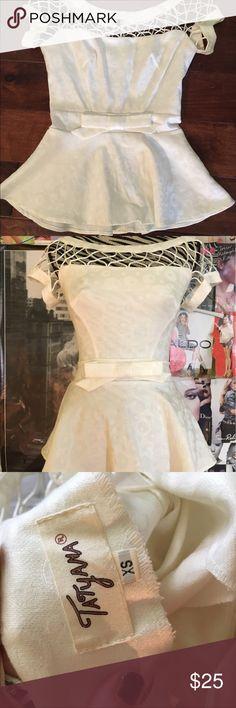 Unique Vintage White Peplum Top XS Tatyana Peplum Top - White With Sparkle Detailing - XS Tatyana Tops Blouses