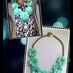 Teal mint floral necklace Pretty necklace Accessories