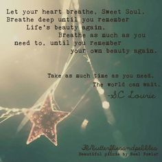 Let your heart breathe.  Sweet soul. Breathe until you remember Life's beauty again. Breathe as much as you need to,  until you remember your own beauty again. Take as much time as you need. The world will wait. SC Laurie