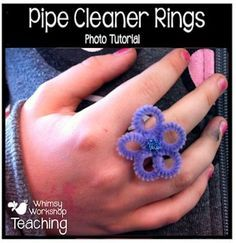 Whimsy Workshop: Flower Rings from pipe cleaners Pipe Cleaner Flowers, Pipe Cleaner Crafts, Art For Kids, Crafts For Kids, Arts And Crafts, Daycare Crafts, 4 Kids, Children, Creative Crafts