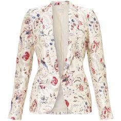 Monsoon Portia Print Jacket ($42) ❤ liked on Polyvore featuring outerwear, jackets, monsoon, multi, long blazer jacket, floral print blazer, white blazers, floral print jacket and flower print blazer