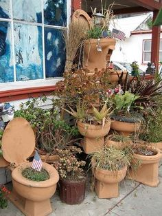 Ever seen a terracotta toilet?! This, and 20 more insanely creative container gardening ideas await you! #containergardens #containergardening