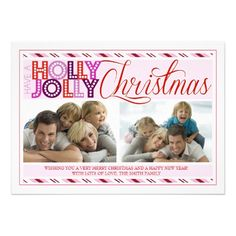 Holly Jolly Christmas Modern Striped Photo Card | Visit the Zazzle Site for More: http://www.zazzle.com/?rf=238228028496470081
