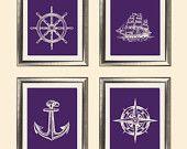 Sketched Nautical Decor Art Prints - Dark / Russian Violet, Marine - Set of 4 - 8X10 - Steering Wheel, Anchor, Compass, Ship - No. 019-9-S4