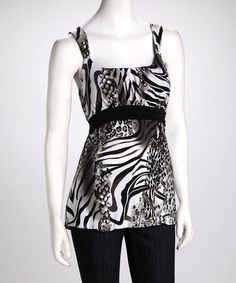 Take a look at this Black & White Jungle Tank by jon & anna on #zulily today!