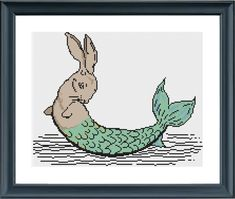 Rabbit Mermaid Cross stitch pattern pdf by TempleofStitch Modern Cross Stitch Patterns, Cross Stitch Designs, Mermaid Cross Stitch, Pagan Symbols, Sewing Leather, Stitch 2, Hand Sewing, Rabbit, My Etsy Shop