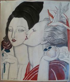 Peinture Femmes Profil ART Deco Signé À LA Main Jean Dupas Couleurs Fraiches | eBay