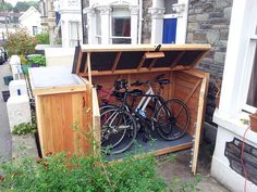 Bike Storage Shed . Bike Storage Shed . Bike Storage Shed Just Outside the Garage Door to the Side Bike Storage Shed Plans, Bike Storage Options, Diy Storage Shed, Backyard Storage, Outdoor Storage Sheds, Storage Ideas, Bin Storage, Garage Storage, Small Shed Plans
