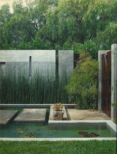 Modern eclectic garden design concrete pond
