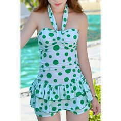Wholesale Sweet Style Halter Polka Dot Print One-Piece Swimsuit For Women Only $13.42 Drop Shipping | TrendsGal.com