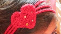 how to crochet a heart headband - YouTube