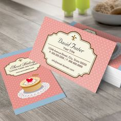 Custom Cakes and Cookies Dessert Bakery Shop Business Card Templates. You can customize this card with your own text, logo, photo, or use this pre-existing template for FREE.