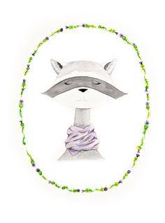 raccoon watercolor PRINT nursery artwork by sweetmagoo on Etsy, $15.00