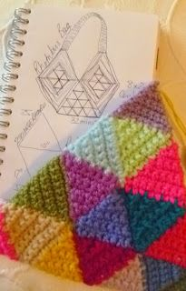 Suz Place: Design for Mini Triangle, Rhombus Bag Tutorial Crochet Chart, Crochet Motif, Crochet Stitches, Crochet Hooks, Free Crochet, Crochet Patterns, Crochet Afghans, Tunisian Crochet, Crochet Triangle