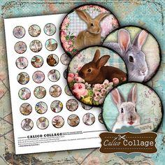 Funny Bunny Digital Collage Sheet Easter Collage Sheet for Cabchon, Bottle Caps, Bezel Settings, Glass Dome Pendants, Rabbit Images for Art