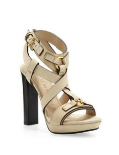 BURBERRY Strappy Thick Heel Platform Sandal