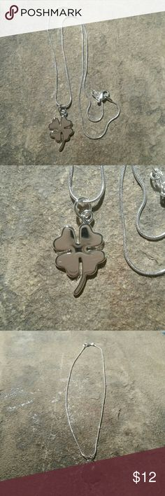 "Silver Plated Lucky Four Leaf Clover Necklace NWOT New without tags beautiful silver plate four leaf clover necklace on an 18"" silver plated chain, both stamped. Perfect for St. Patrick's Day, or anytime you need a little extra luck! Pendant measures 3/4"" wide by 1"" long.  Thank you for visiting my closet, and happy poshing!! :)  SORRY, NO TRADES  BUNDLE & SAVE! Jewelry Necklaces"