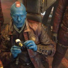 a little behind-the-scenes moment I found on my camera of #Yondu (@michael_rooker) messing around with one of his toys in between shots. #GotG