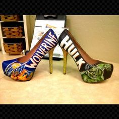 Hand painted Super Hero high heels with by AntoinetteCauleyArt, $115.00