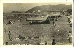 cartão postal antigo - praia do gonzaga - santos - são paulo
