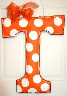 Tennessee T Football Burlap Door Hanger High School Spirit College Team Decoration Dorm Room Cheerleader. $35.00, via Etsy.