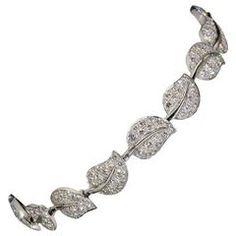 Van Cleef & Arpels Lotus Collection Diamond Gold Leaf Link Bracelet