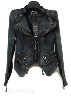 Sharp Power Studded Shoulder Notched Lapel Denim Jeans Tuxedo Coat KFBY 01 in Clothing, Shoes & Accessories, Women's Clothing, Coats, Jackets & Vests Denim Biker Jacket, Studded Denim Jacket, Blazer Jacket, Denim Fashion, Fashion Outfits, Womens Fashion, Fashion Fashion, Vintage Fashion, Tuxedo Coat