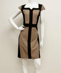 Love this Beige & Black Cap-Sleeve Sheath Dress on #zulily! #zulilyfinds