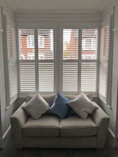 Shutter Installation Gallery by London Interior Shutters Interior Window Shutters, Interior Stairs, Living Room Interior, Window Shutter Blinds, Bay Window Curtains, Interior And Exterior Angles, Interior Design, Bay Window Design, Dining Room