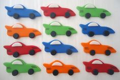 Edible Cupcake Toppers - Race Cars - Fondant Cupcake Decorations - SALE - SAVE 12%. $15.95, via Etsy.