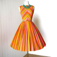 vintage 1960's dress ...tutti fruitti GAY GIBSON chevron sorbet cotton seersucker full skirt pin-up summer dress. $180.00, via Etsy.