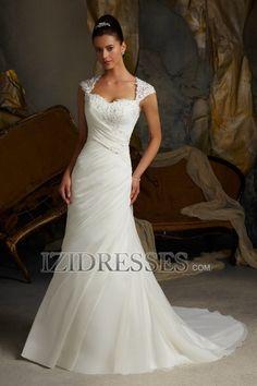 Sheath/Column Off-the-shoulder Sweetheart Chiffon Wedding Dress - IZIDRESS.com